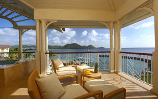 Sunset terrace with sea views at The Landings in St Lucia