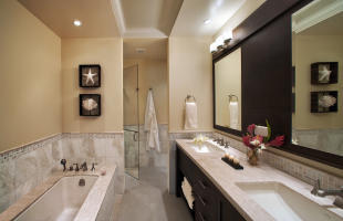 Master bathroom with shower at The Landings in St Lucia