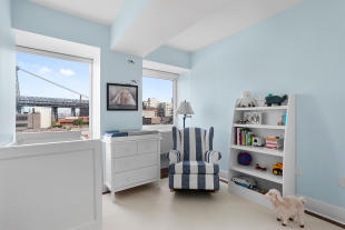 Children's bedrooms with bridge view at 440 Kent Avenue in Brooklyn, New York