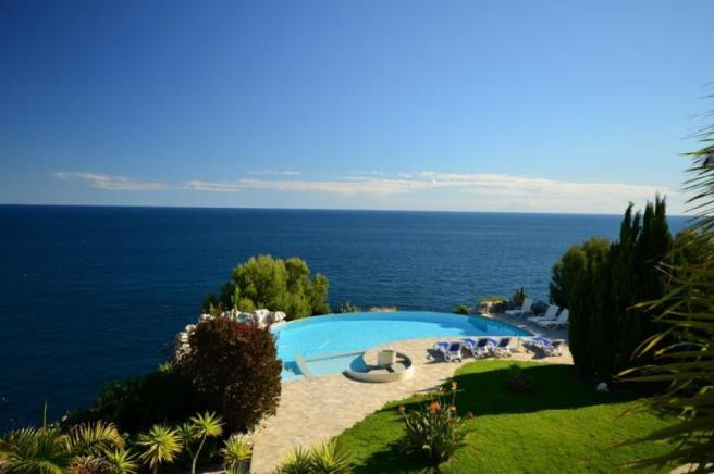 View to pool from terrace of main bedroom