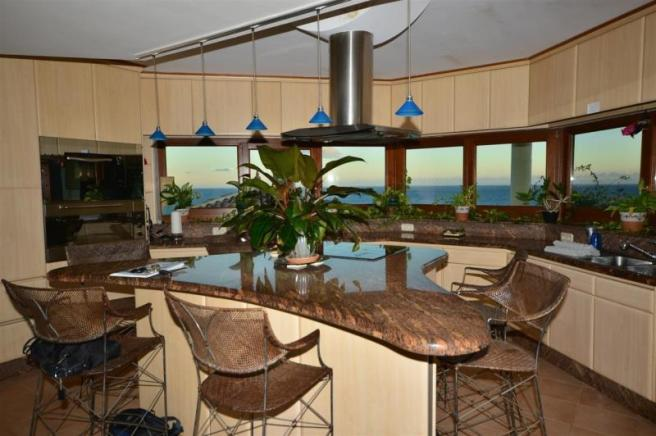 Sea view from this wonderful kitchen with island