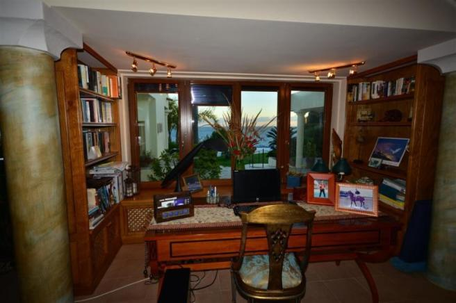 Office area has wonderful view to the sea & garden