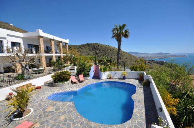 View to the villa from the pool area