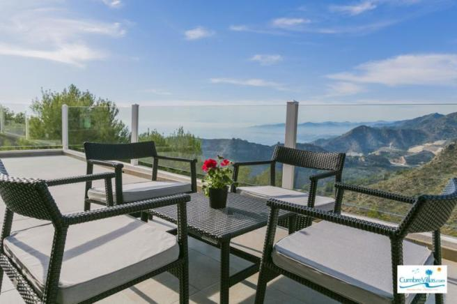 Terrace off of living area with awe inspiring view