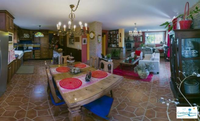 Another angle of open plan living area & kitchen