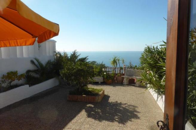 This villa has a nice terrace with great views