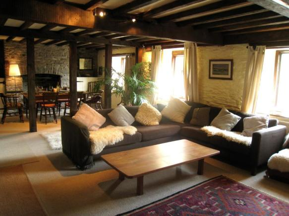 Living Room with Dining Area - Farmhouse