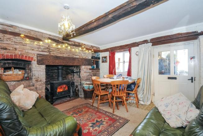 Comfortable living room with woodburner
