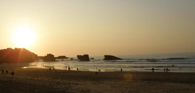 sun set in Biarritz