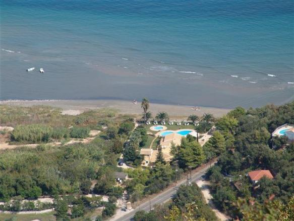 aerial view of villa and beach