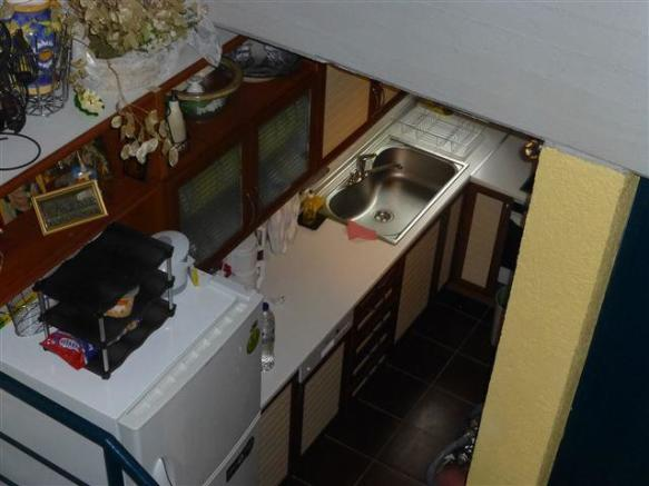 the kitchen from the stairs