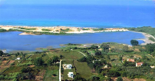 aerial view of the beach and the lake