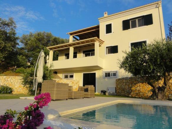 Main villa from pool