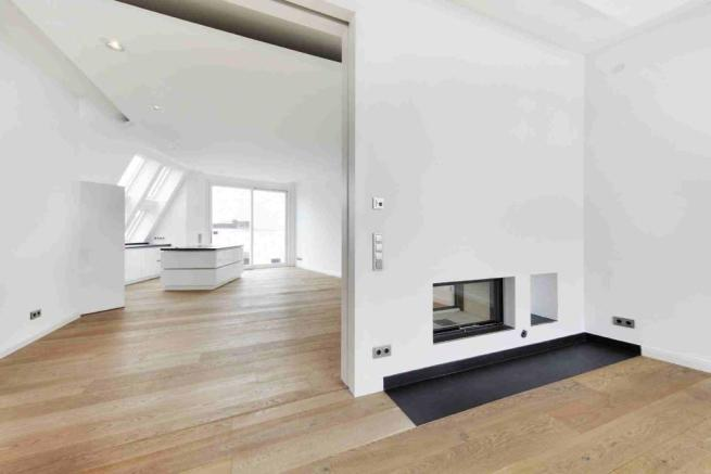 fireplace and kitche