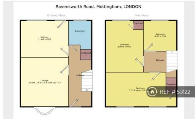 3 bedroom terraced house to rent in ravensworth road for Terraced house plans uk