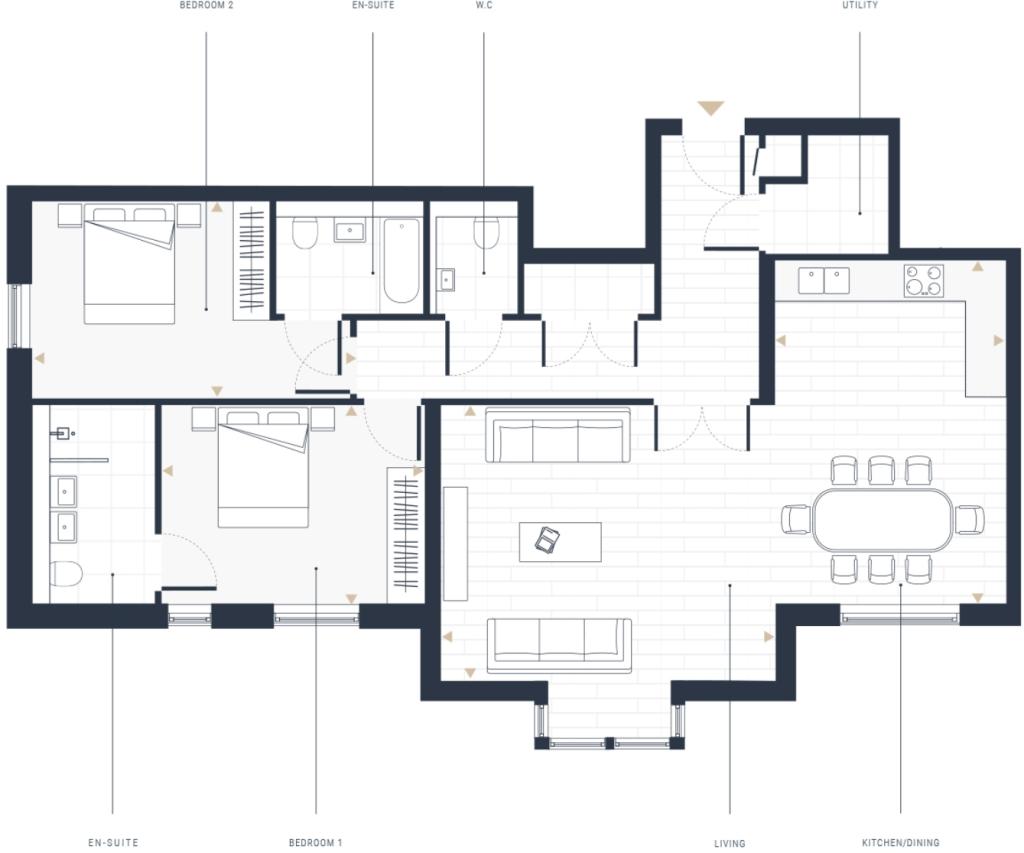 Two Bedroom Apartments - Floor Plan