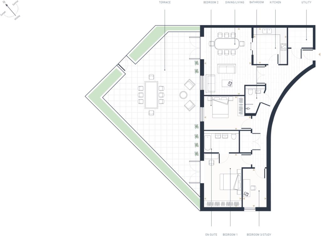 Three Bedroom Apartments - Floor Plan
