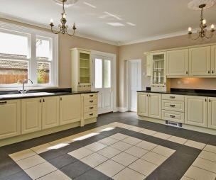 Tiles Worktop Design Ideas, Photos & Inspiration - Black Kitchen Cabinets And Cream Floor Tiles
