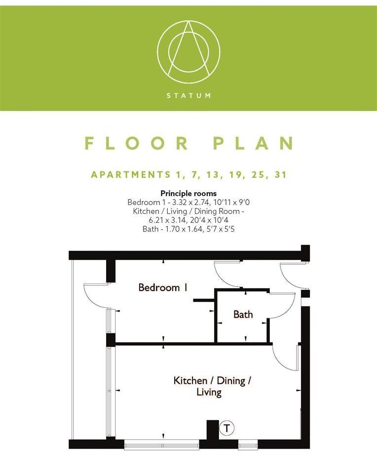 Statum Wootton Mount Floor Plan F1, 7, 13, 19, 25,