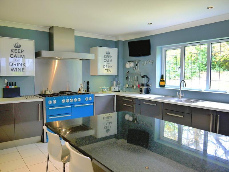 Shiny White Kitchen Design Ideas, Photos & Inspiration | Rightmove - Blue Range Cooker White Cabinet