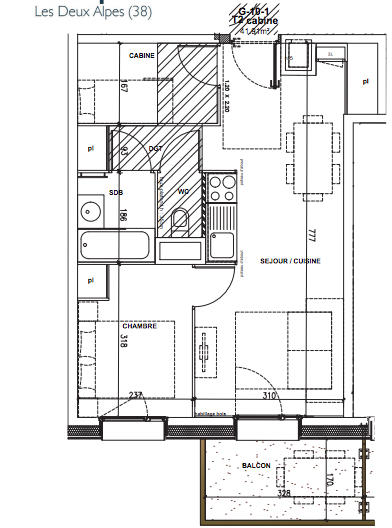 1-bed + cabin plan