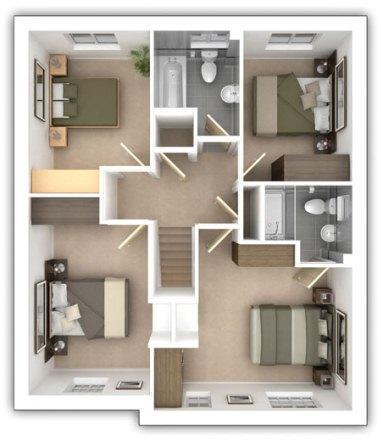 Taylor Wimpey - The Bradenham - 4 bedroom first floor plan