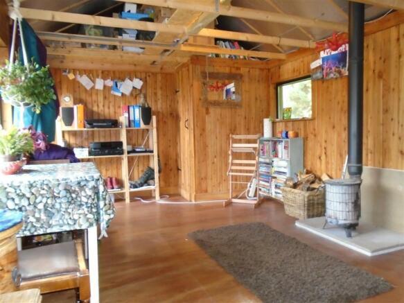 Living area inside wood cabin