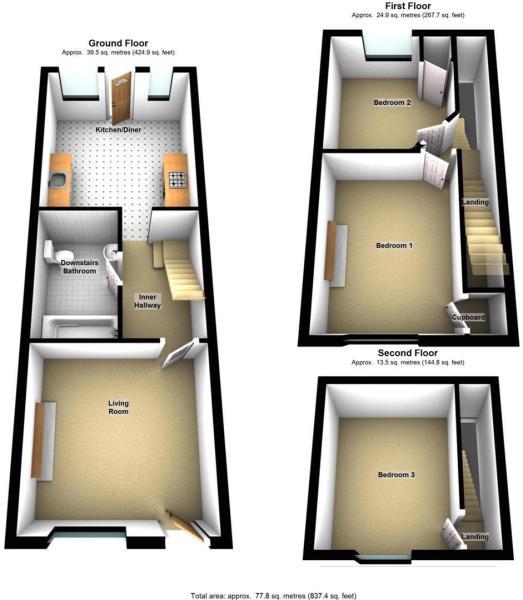 3d 88 Main Ridge East Boston PE21 6SY - All Floors