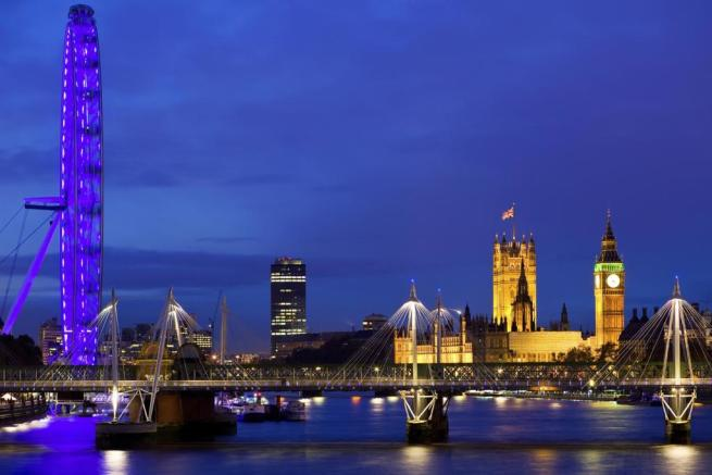 Cityscape of London with the Houses of Parliament,