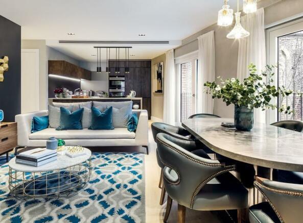 London Keybridge Lofts Living Room and Kitchen