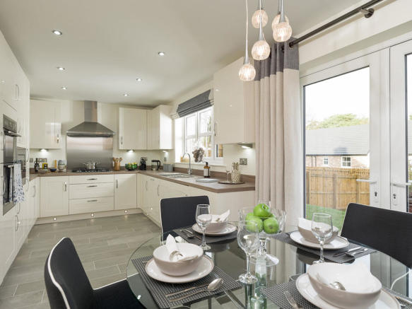 Kitchen/breakfast area with French doors to rear garden