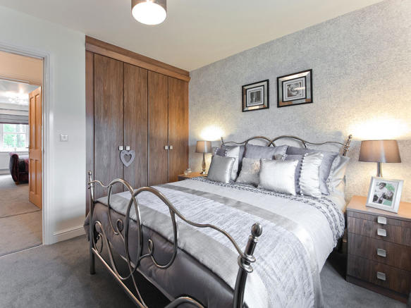 Double bedroom with stylish fitted wardrobes