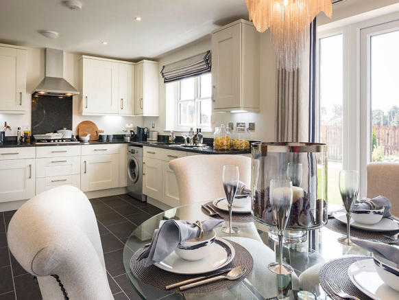 Fully integrated kitchen with French doors to rear garden