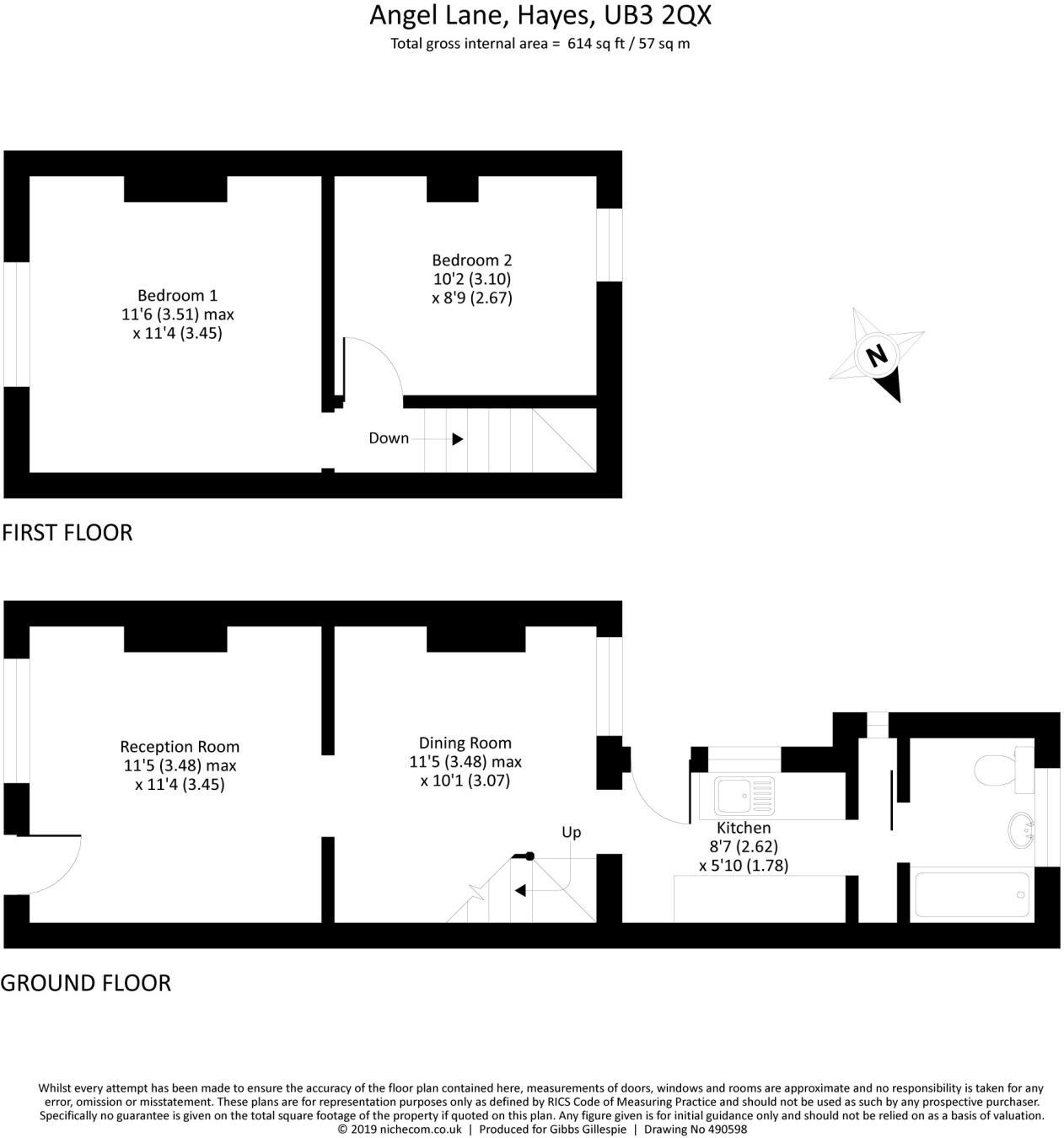 2 bedroom terraced house for sale in Angel Lane, Hayes