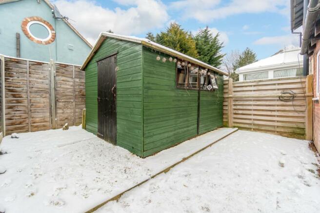 Rear garden (decking under snow)