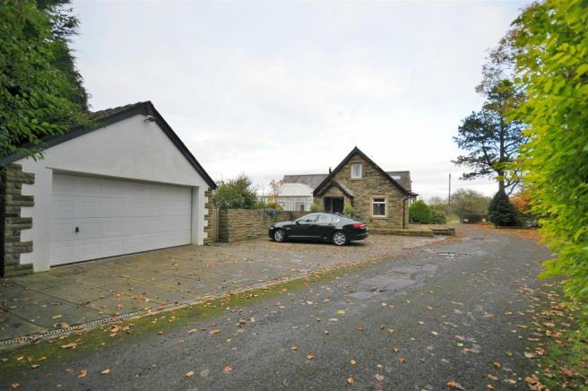 Double garage and driveway