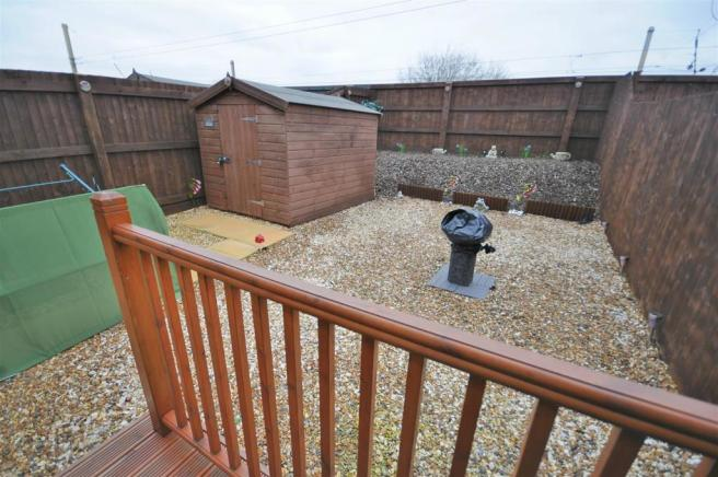 Rear garden with decked seating area