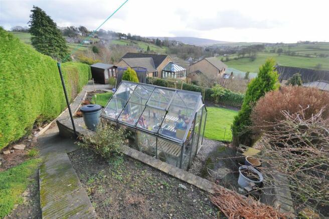 Rear garden, patio and garage