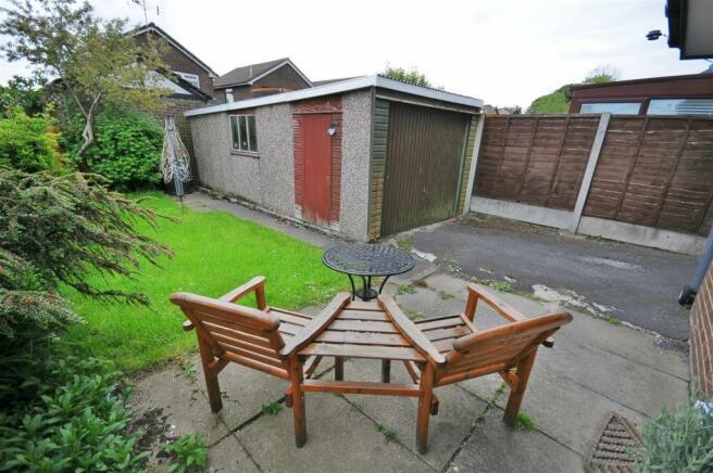 Rear garden and detached garage
