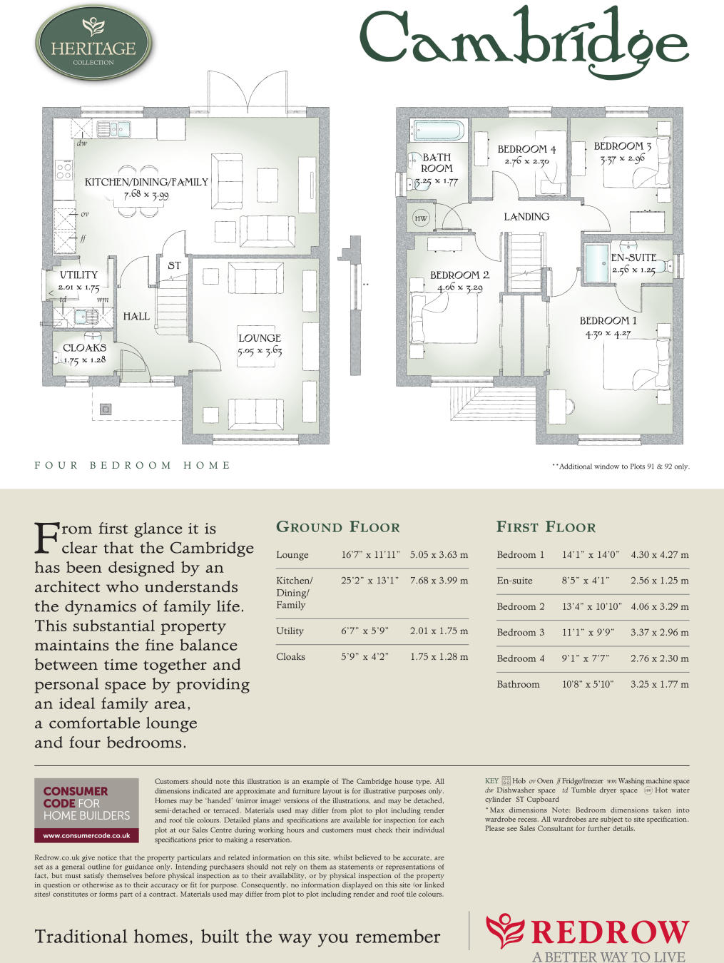 4 bedroom detached house for sale in Church Road Hauxton – Redrow Cambridge House Floor Plan
