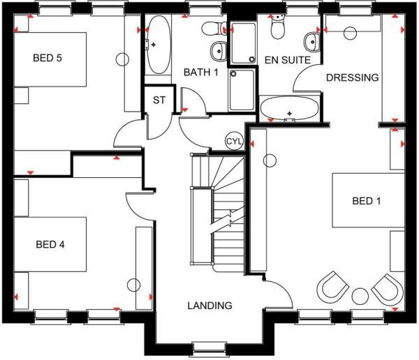 The Lichfield first floor plan