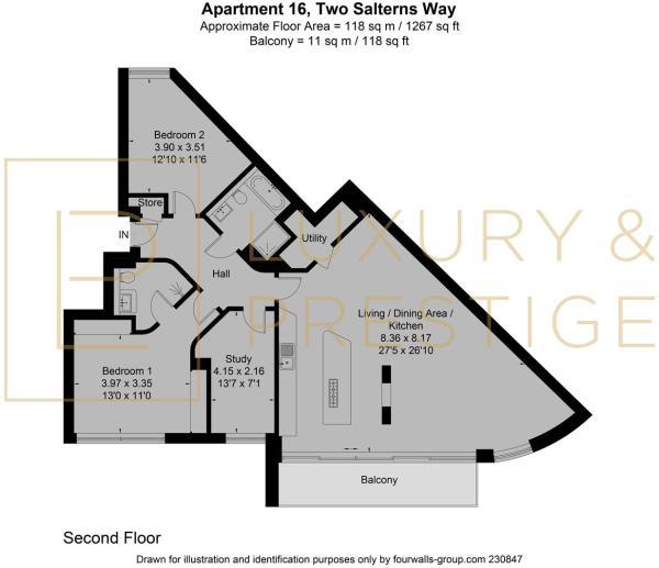 Apt 16, Two Salterns Way - Floorplan