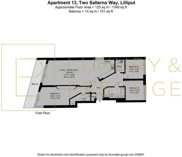 Apt 13, Two Salterns Way - Floorplan