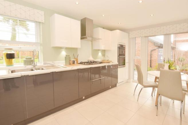 Kitchen with French doors and breakfast area