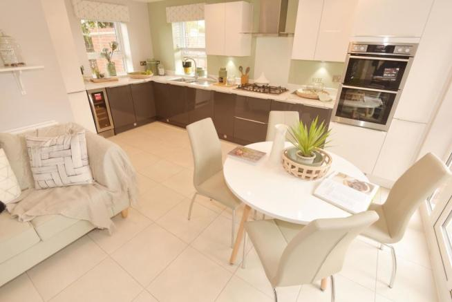 Kitchen with breakfast and family area
