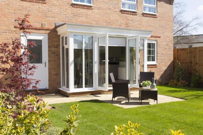 Glazed-bay with French doors onto the garden
