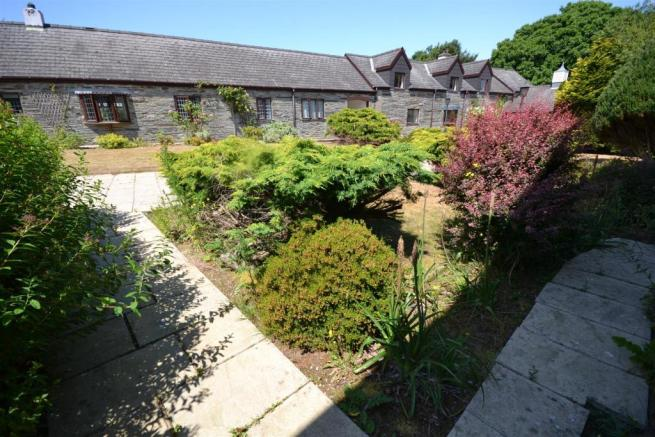 View out to courtyard from cottage