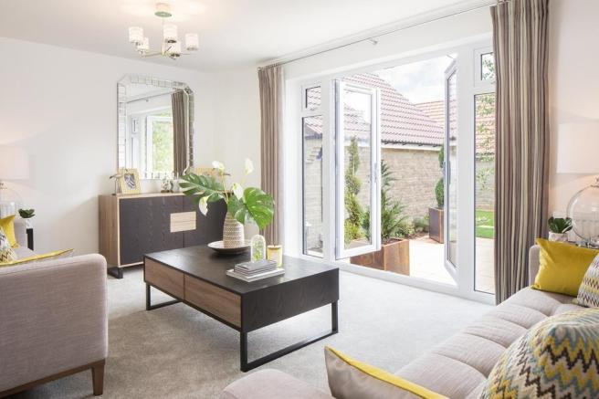 Internal view Ashurst 3 bedroom semi-detached home lounge with french doors