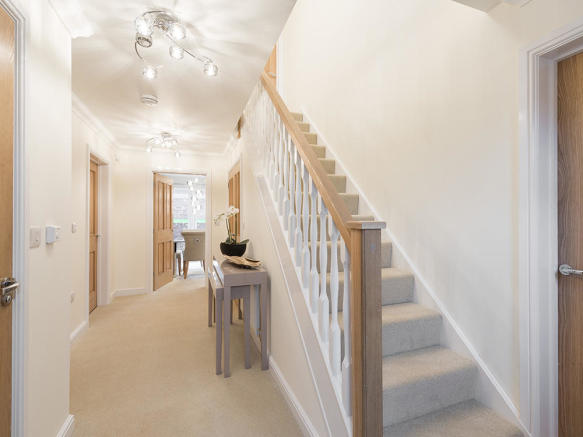 Staircase with solid oak handrails and newel posts