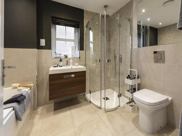 Family bathroom with extensive Porcelanosa tiling